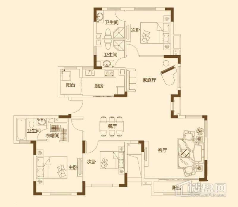 一期6层花园洋房140平米户型图