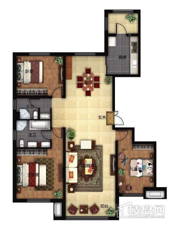 鲁商松江新城B户型3室2厅2卫1厨