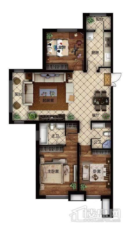 鲁商松江新城D户型3室2厅2卫1厨