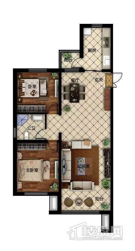 鲁商松江新城F2户型2室2厅1卫1厨