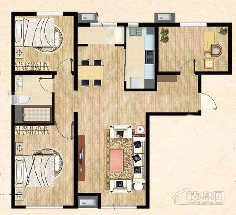 7号楼标准层A户型2室2厅2卫1厨 120.00