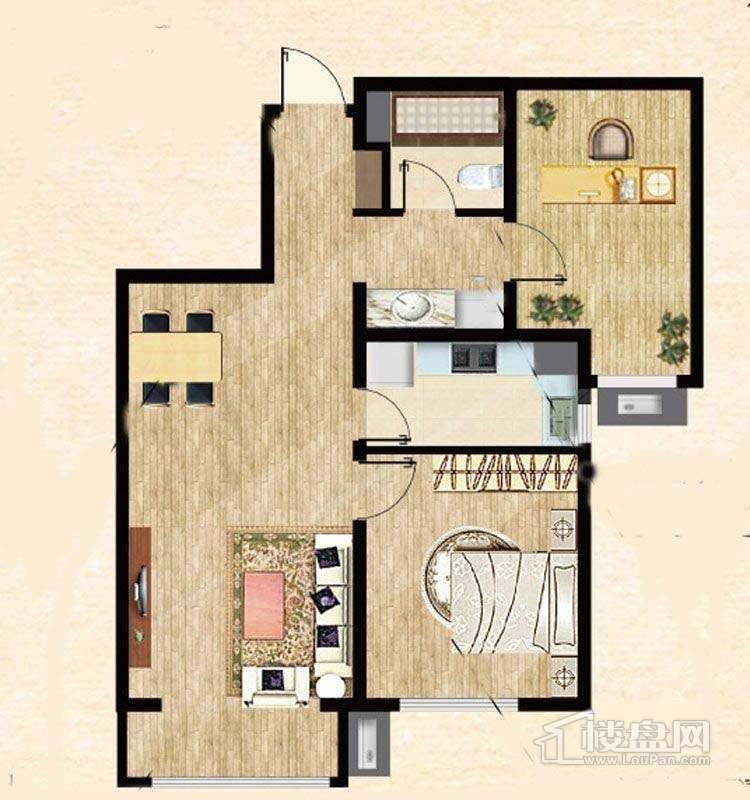 7号楼标准层B户型1室1厅1卫1厨 87.00