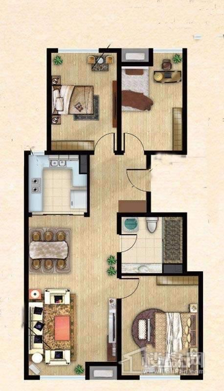 8号楼标准层中户型3室2厅1卫1厨 115.00