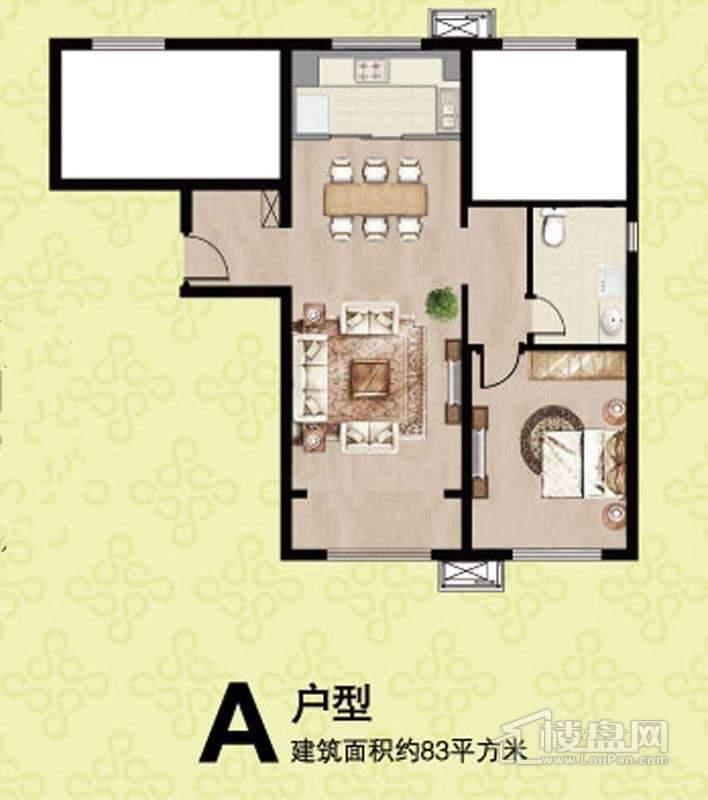 一期14,15号楼标准层A户型3室2厅1卫 88.00