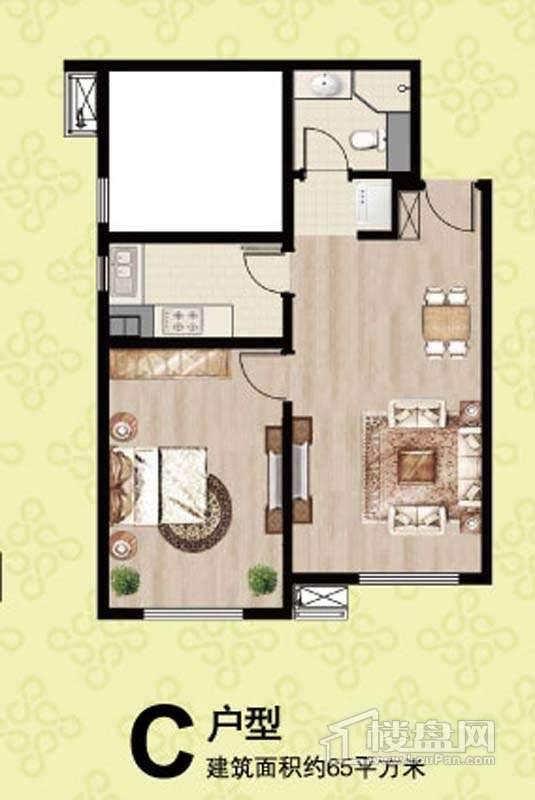 一期14,15号楼标准层C户型2室2厅1卫 69.00