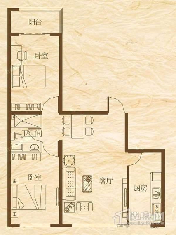 罗马公元1、2号楼E户型使用面积66.66平米 2室1厅1卫1厨