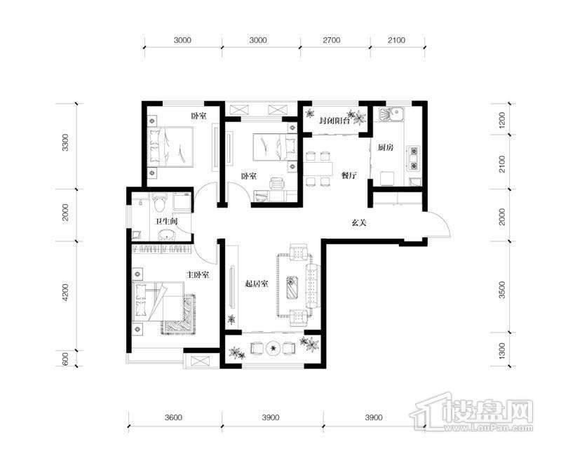 1、5、6、14号楼高层标准层C1户型