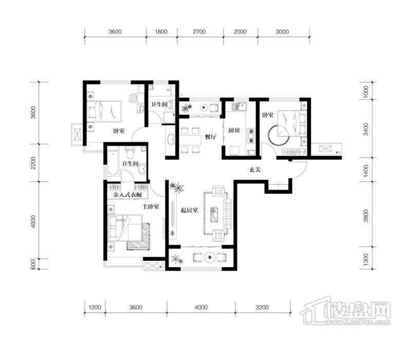 2、3号楼高层标准层A1户型