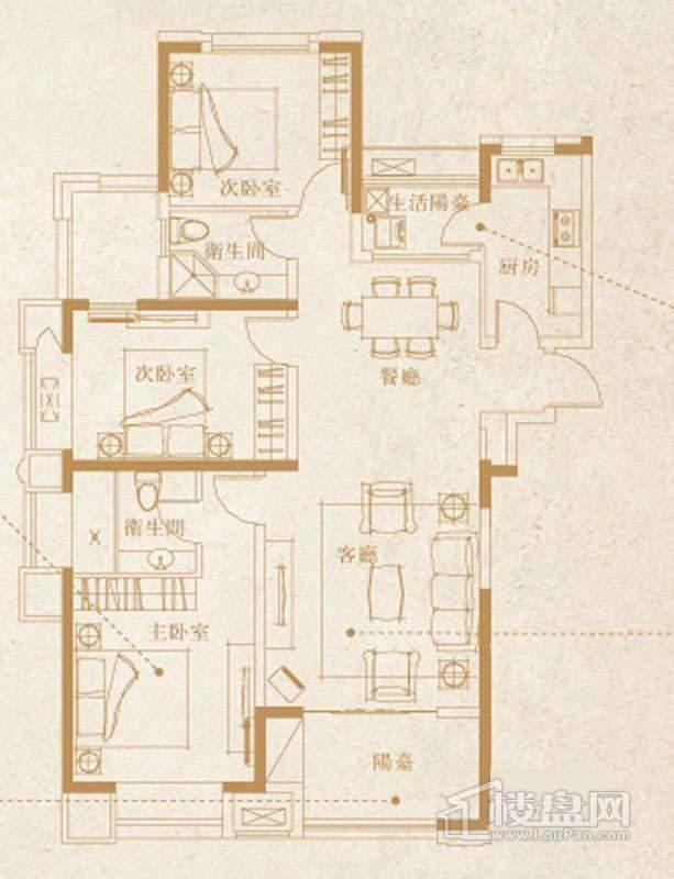 一期1-3、7号楼标准层D1户型