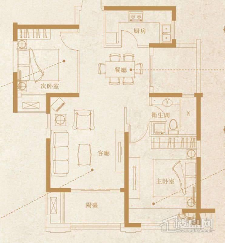 一期1-7号楼标准层D2户型