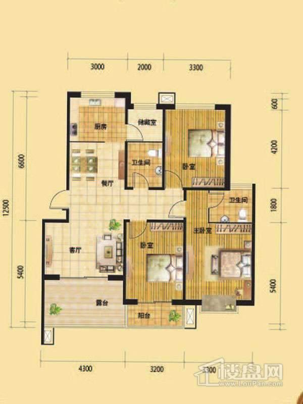 一期高层标准层G2户型3室2厅2卫1厨
