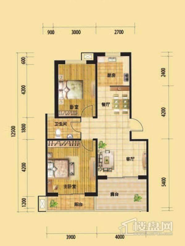 一期高层标准层H1户型2室2厅1卫1厨