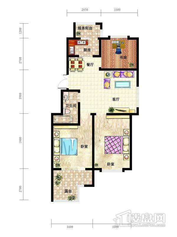 中天富城A1户型3室2厅1卫1厨