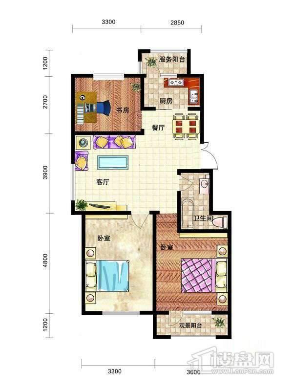中天富城A户型3室2厅1卫1厨