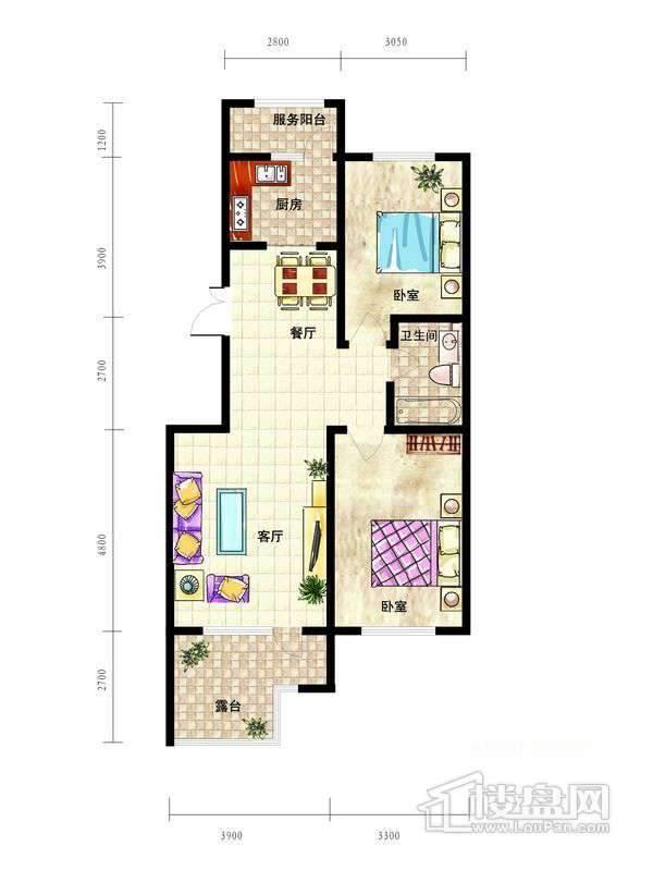 中天富城B1户型2室2厅1卫1厨