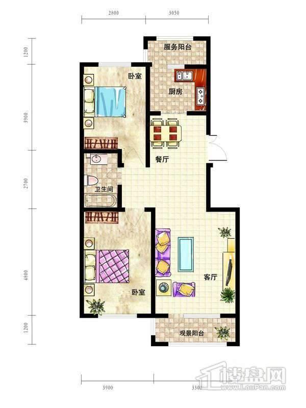 中天富城B户型2室2厅1卫1厨