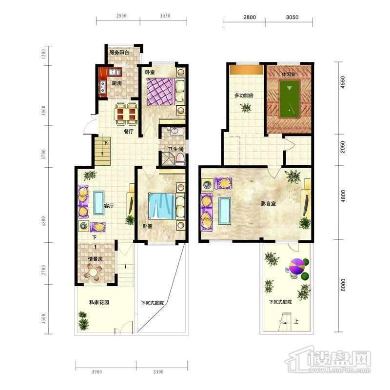 中天富城E1户型2室2厅1卫1厨