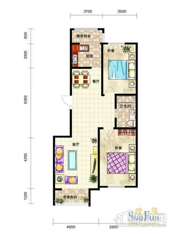 中天富城H户型2室2厅1卫1厨