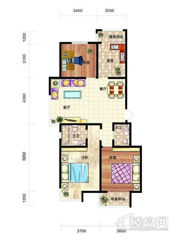 中天富城J户型3室2厅2卫1厨