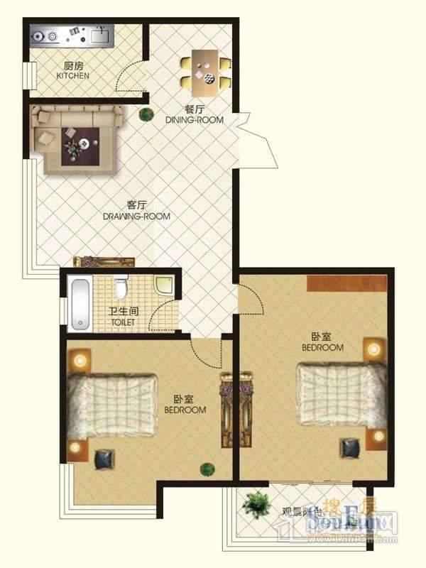 中天富城二期10号楼M户型2室2厅1卫1厨
