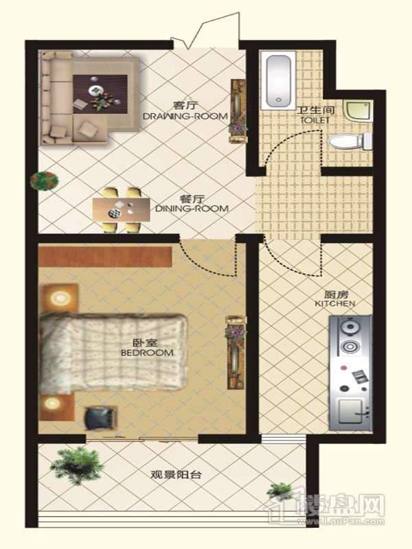 中天富城二期11号楼O户型1室2厅1卫1厨