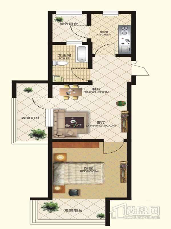 中天富城二期11号楼S户型1室2厅1卫1厨