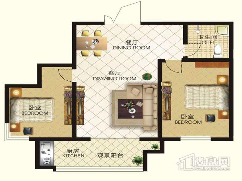 中天富城二期12号楼P户型2室2厅1卫1厨