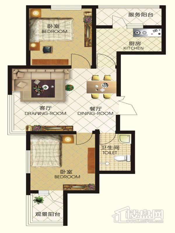 中天富城二期12号楼Q户型2室2厅1卫1厨