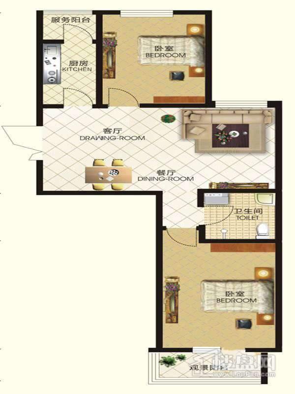 中天富城二期12号楼R户型2室2厅1卫1厨