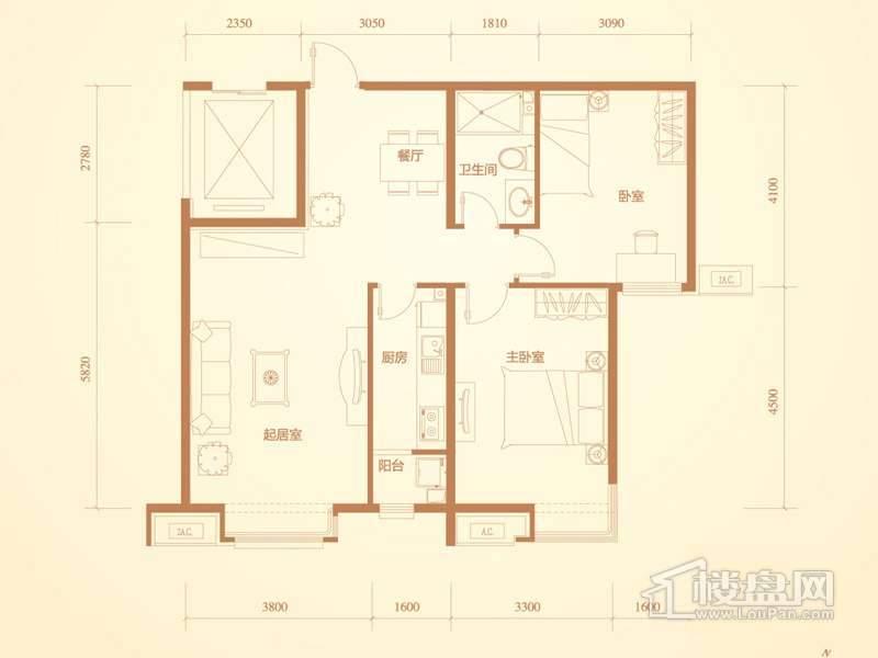 洋房标准层A1a户型