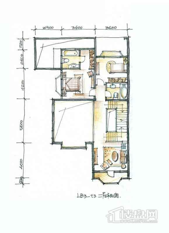 一期别墅B3户型2层2室1厅2卫 336.00