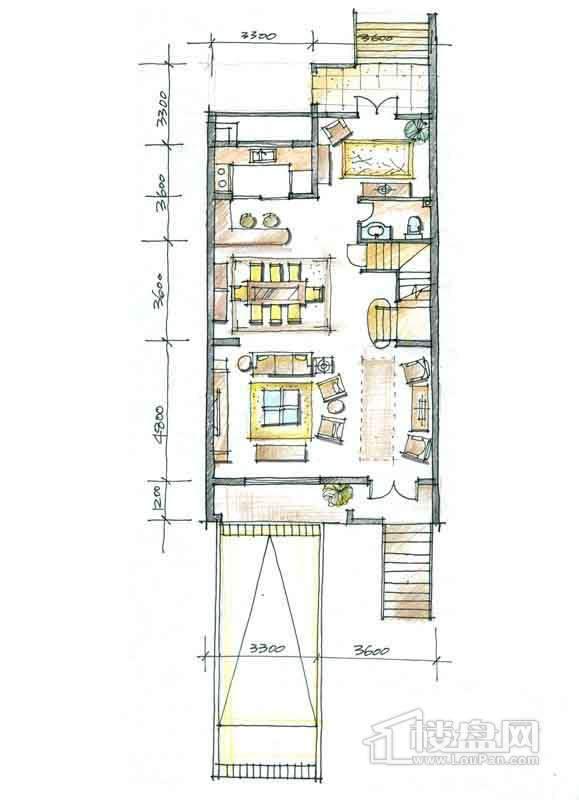 一期别墅N2户型1层3厅1卫1厨 332.00