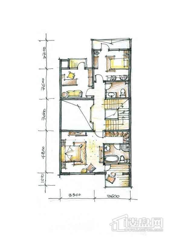 一期别墅N2户型2层2室1厅1卫 332.00