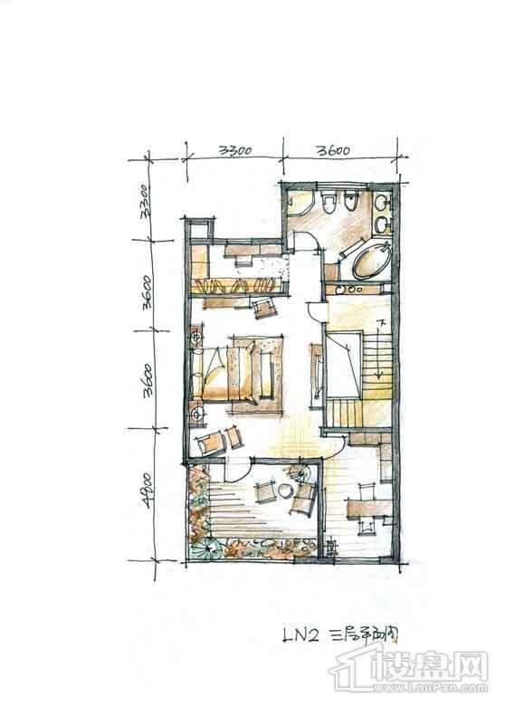 一期别墅N2户型3层1室1厅1卫 332.00