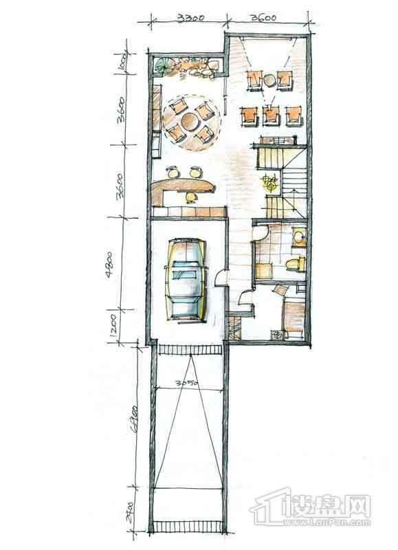 一期别墅N2户型负1层1室1厅1卫 332.00