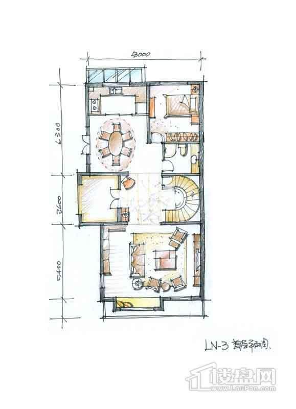 一期别墅N3户型1层1室2厅1卫1厨 357.00