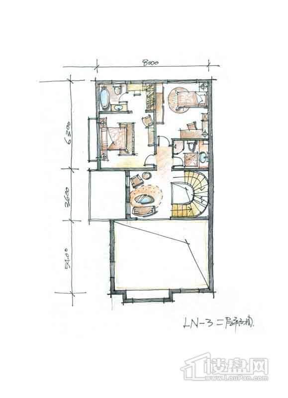 一期别墅N3户型2层2室1厅2卫 357.00