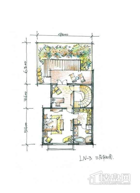 一期别墅N3户型3层1室1厅1卫 357.00
