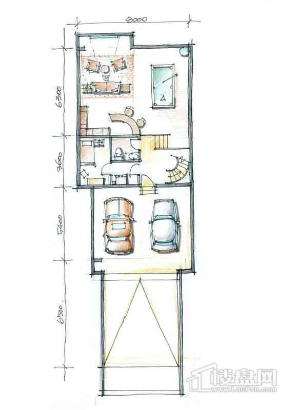 一期别墅N3户型负1层1室1厅1卫 357.00㎡