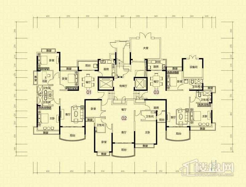 16号楼标准层平面示意图