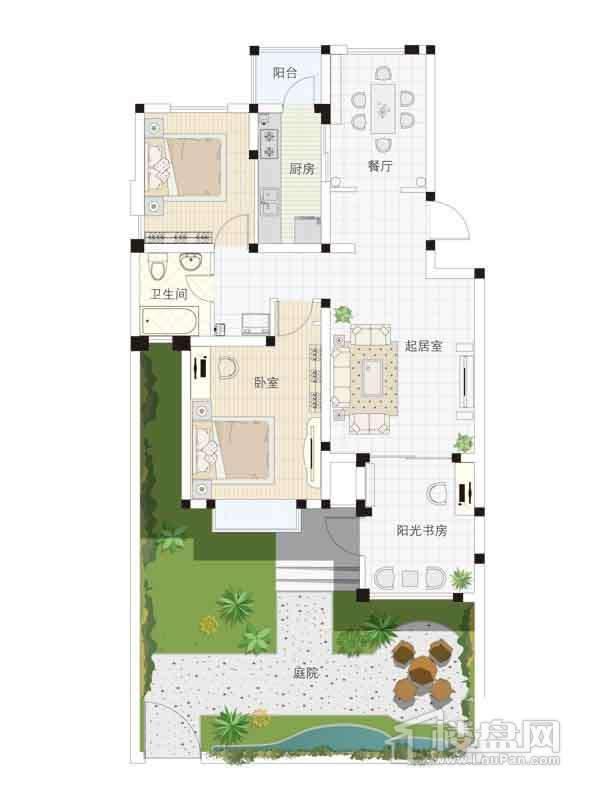1、4、7、10号楼一层01户型2室2厅1卫1厨 98.00
