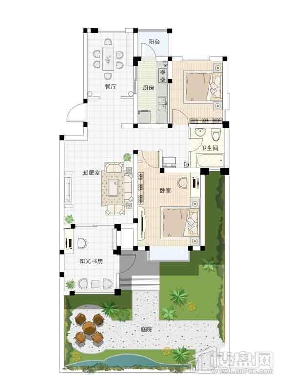 1、4、7、10号楼一层02户型2室2厅1卫1厨 98.00