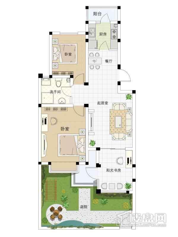 2、3、6、9、11、12号楼一层02户型2室2厅1卫1厨 92.32