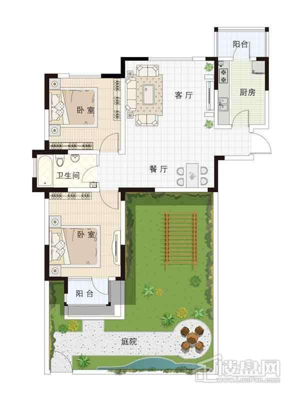 13-15号楼一层01户型2室2厅1卫1厨 95.00