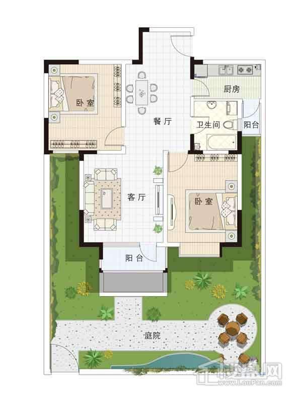 13-15号楼一层02户型2室2厅1卫1厨 97.05