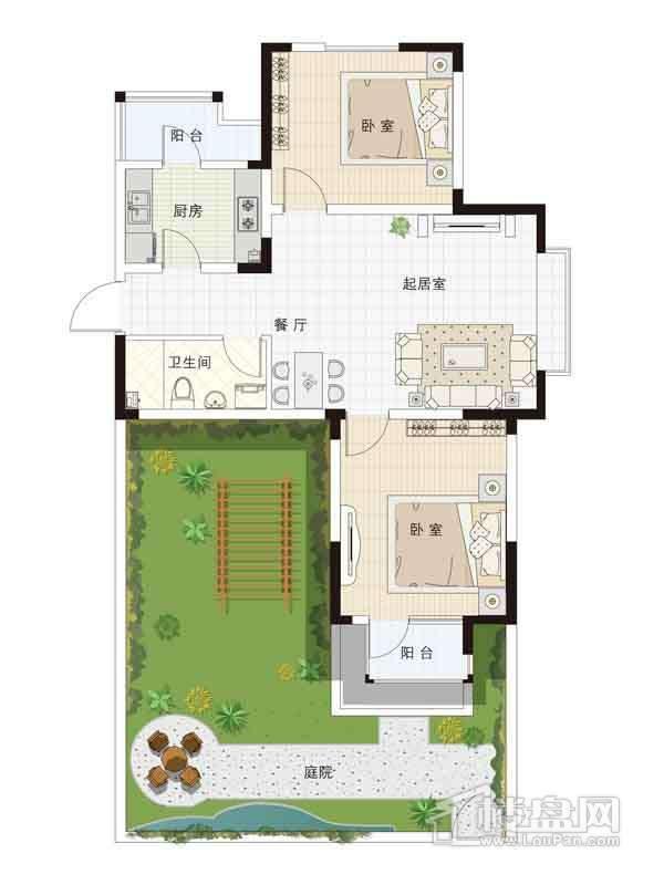 13-15号楼一层04户型2室2厅1卫1厨 88.00