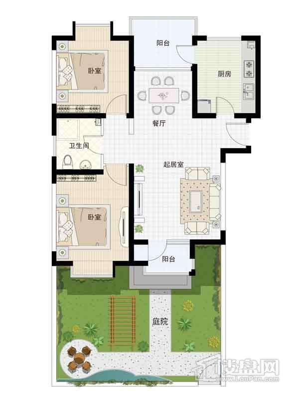 16-19号楼一层01户型2室2厅1卫1厨 97.50