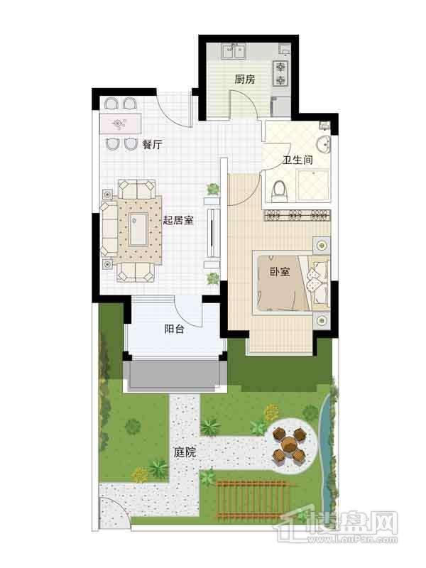 16-19号楼一层02户型1室2厅1卫1厨 62.32