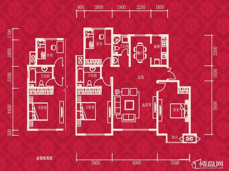 1-9栋标准层A5户型图3室2厅2卫1厨