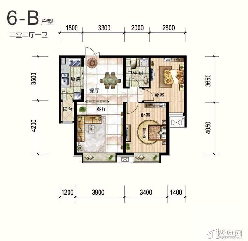 一期6号楼标准层B户型2室2厅1卫1厨 90.88